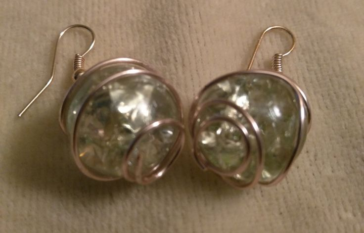 Crystal Ball Rose Wire Wrapped Earrings by SassieDiva on Etsy