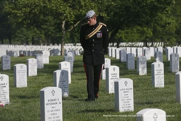Prince Harry visits Section 60 of Arlington Cemetery, home to those who gave their lives in the wars in Iraq and Afghanistan.