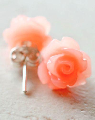 sweet little coral flower earrings