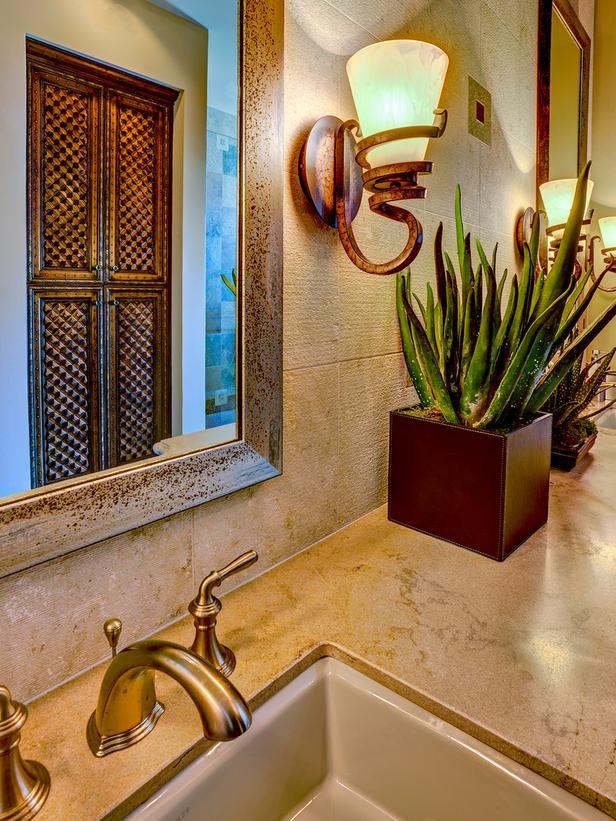 Mediterranean Bathroom Sink And Mirror Tropical