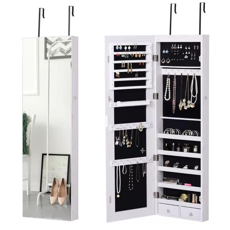 Latitude Run Full Length Mirror Jewellery Cabinet, 6 Leds ...