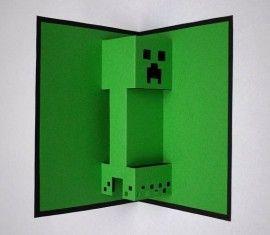 Stoere uitnodigingen van minecraft. Zo wil iedereen wel op je feestje komen. Als je de kaart openvouwt komt Creeper tevoorschijn. www.creakelder.nl