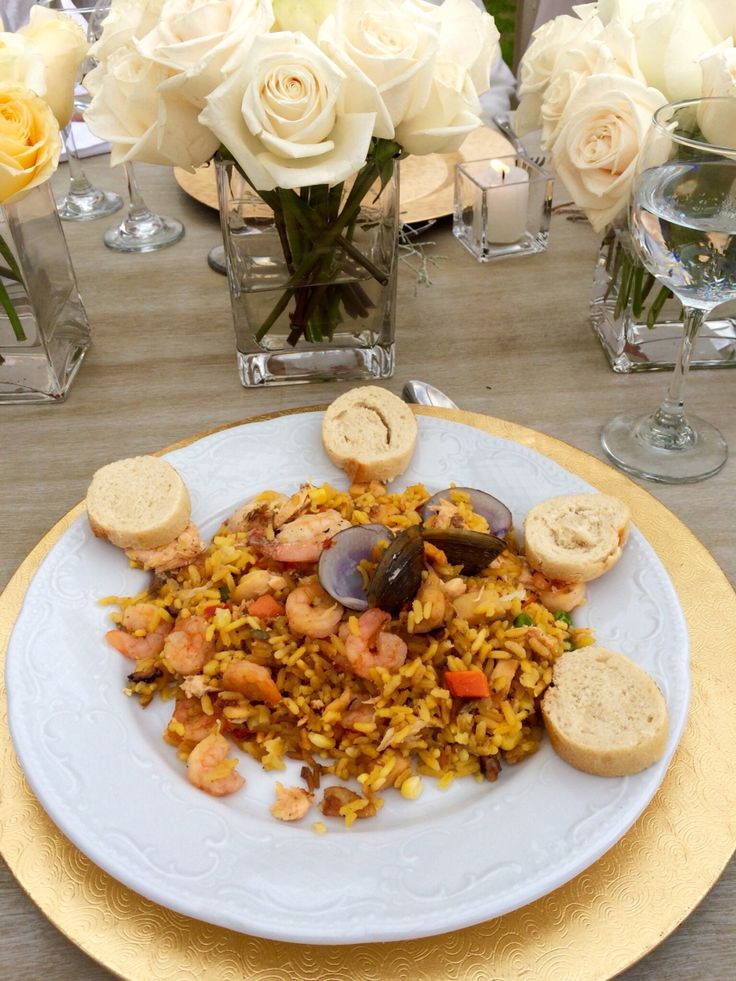 Delicious looking wedding food. Paella for wedding meal.