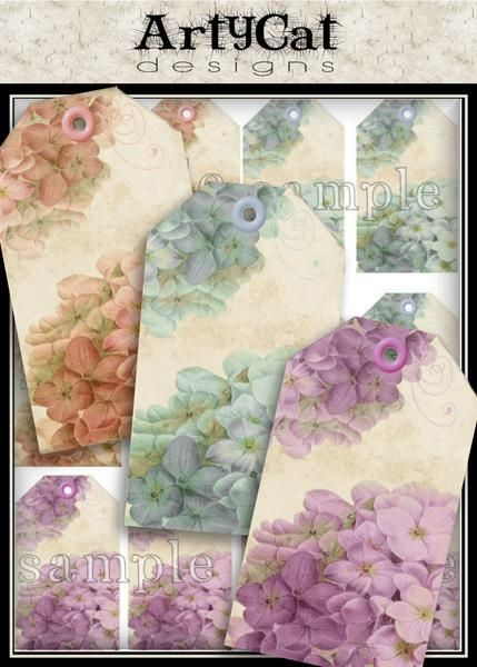These shabby chic style hydrangea tags come in your choice pink, blue or purple colors. The tags are 1.75 x 3 inches in size, and are created with vintage hydrangea botanical drawings on a soft grunge textured and neutral toned background, with matching color swirl and eyelet, digital printable downloads. #HydrangeaTags #HangTags #Printable Download #Digital Collage Sheet