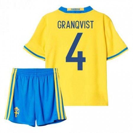 Sverige Trøje Børn 2016 #Granqvist 4 Hjemmebanesæt Kort ærmer.199,62KR.shirtshopservice@gmail.com