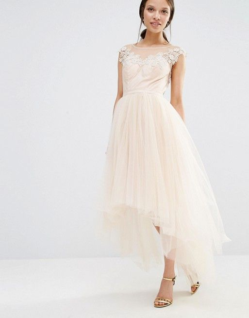Asos - Chi Chi London Petite Lace Scallop Back High Low Midi Dress With Tulle Skirt