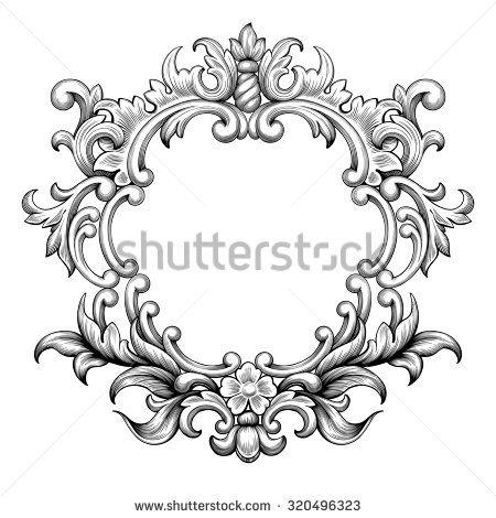 Vintage baroque frame border leaf scroll floral ornament engraving retro flower pattern antique style swirl decorative design element black and white filigree vector wedding invitation greeting card - stock vector