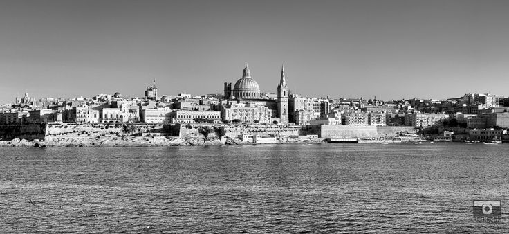 The bastions of Valletta. #Valletta #Malta #mediterranean #Knights #marsamxett #sea #bastions #fortifications #architecture #Knightsoftheorder #blackandwhite #panoramic
