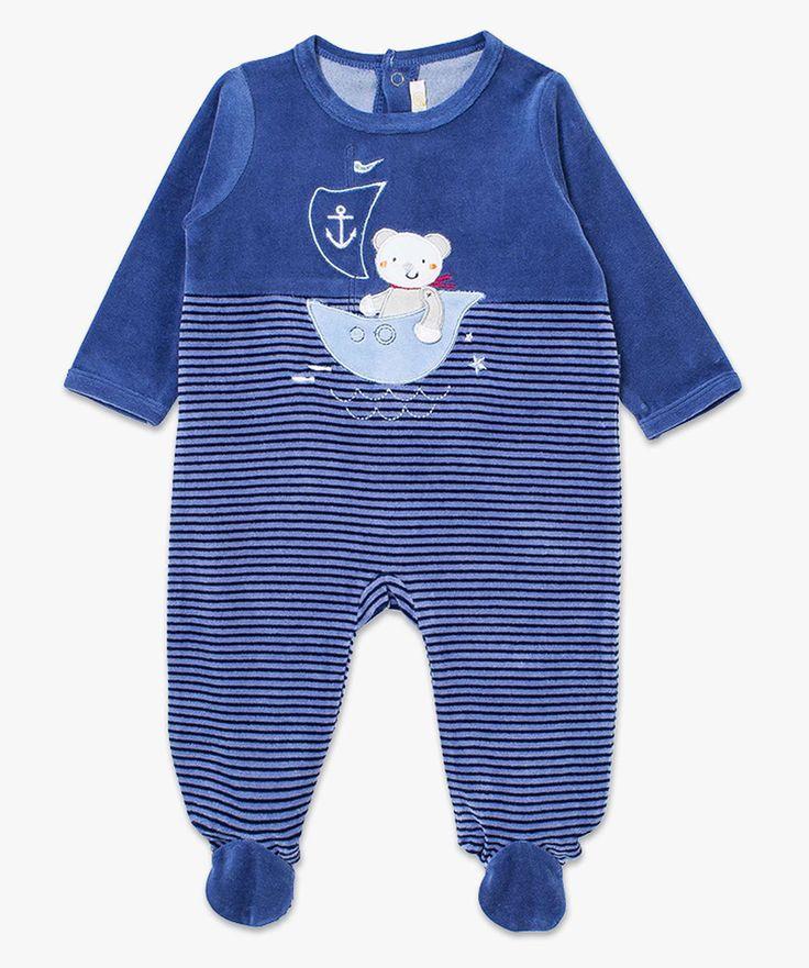 Dors bien avec motif marin brodé Bleu