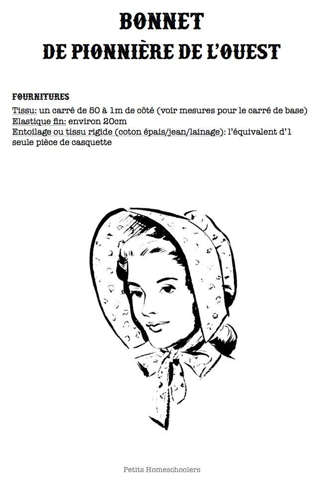 Patron gratuit à imprimer. Chapeau bonnet de pionnière de l'ouest, sunbonnet. Déguisement de Laura Ingalls. Patron facile, couture facile, atelier couture avec les enfants.