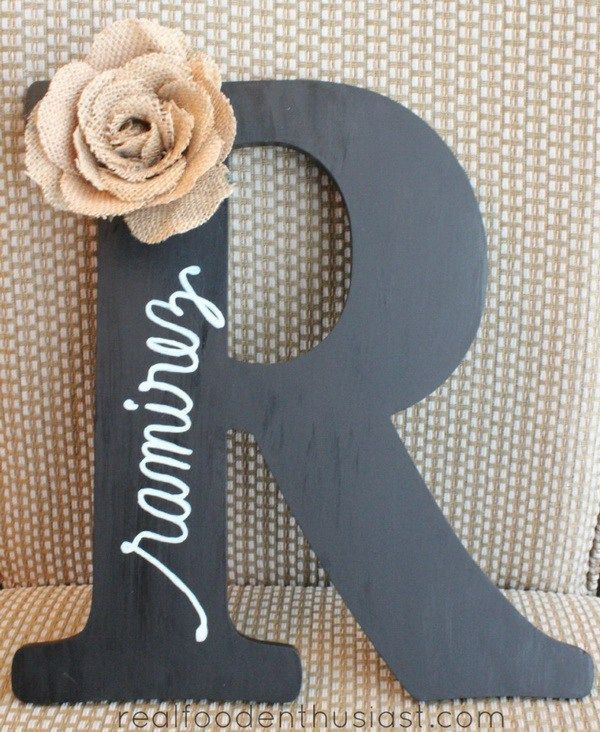 "Chalkboard Painted Letter with Burlap. This chalk painted letter decorated with burlap, twine serves as a great ""Mr. & Mrs."" hanging sign for a wedding!"