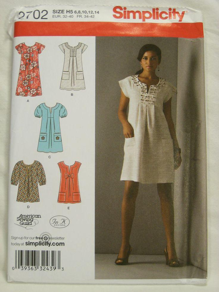 Womens Clothing Pattern Boho Dress Tunic Simplicity 2702 6 -1959