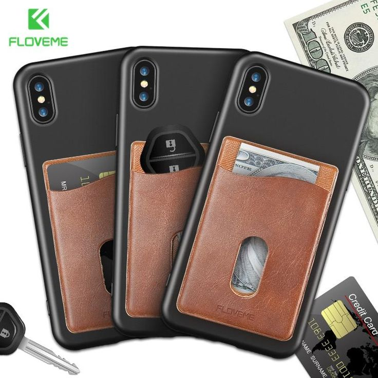 FLOVEME Leather 3M Adhesives Card Sticker Pocket Universal Credit Card Wallet Case For iPhone X 8 Samsung Women Men Phone Pouch