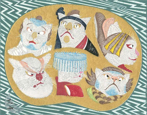 Sukeroku by Tsuruya Kokei / 扇面流し 猫の助六 弦屋光溪