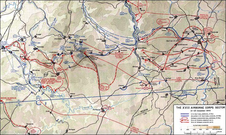 •Le XVIII Corps aéroporté (Matthew Ridgeway). Entre Malmédy et Grandménil. Avec la 30ème Division d'infanterie et la 82ème Division aéroportée.