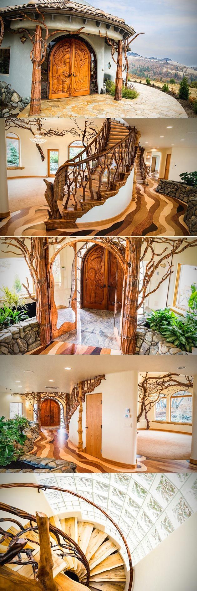 A breathtaking new home on the market looks like something straight out of a fantasy novel. Nestled in the foothills of Ashland, Oregon, the fairytale-like Shining Hand Ranch is a custom-built dwelling with a spacious treehouse-like interior and a riverine-like floor. Heated and cooled with geothermal energy, this one-of-a-kind home features intricate flora and fauna carvings—with dragons, eagles, coyotes, and more—and overlooks amazing views of the surrounding mountains, including the tip…