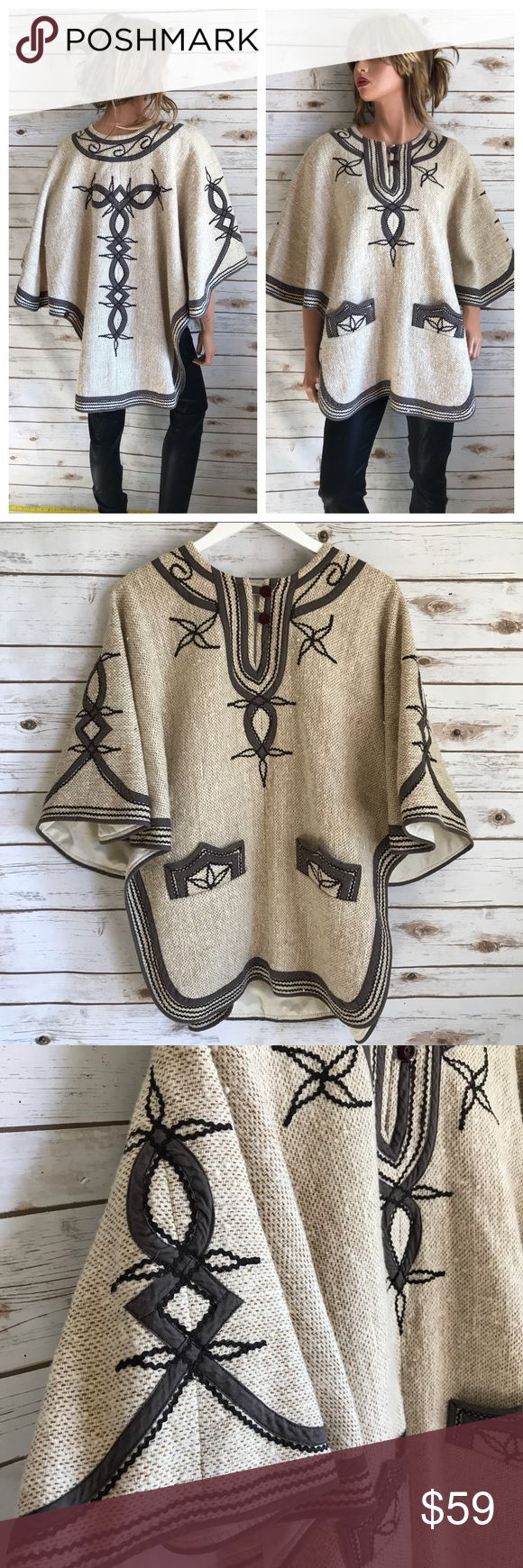 Vintage Boho Poncho - Great Quality! Vintage Boho Poncho - Great Quality! Unique find - won't find another like this for sale. Natural fibers, heavy fabric, lined Beautiful embroidery & trim One size - meaning it fits all sizes.  It has buttons near the bottom to create a separation for sleeves.  Thank you for looking and please check out the rest of my closet. Jackets & Coats Capes