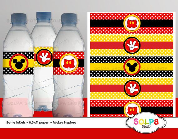 mickey mouse inspired water bottle labels printable by Solpashop, $2.00