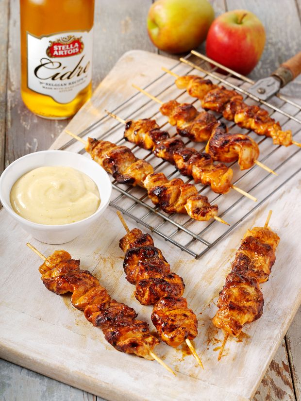 BBQ Chicken Skewers and Fresh Aioli Mayonnaise recipe by Stella Artois, Tom Aikens. . Serves 6. Find more great BBQ recipes at Kitchen Goddess.