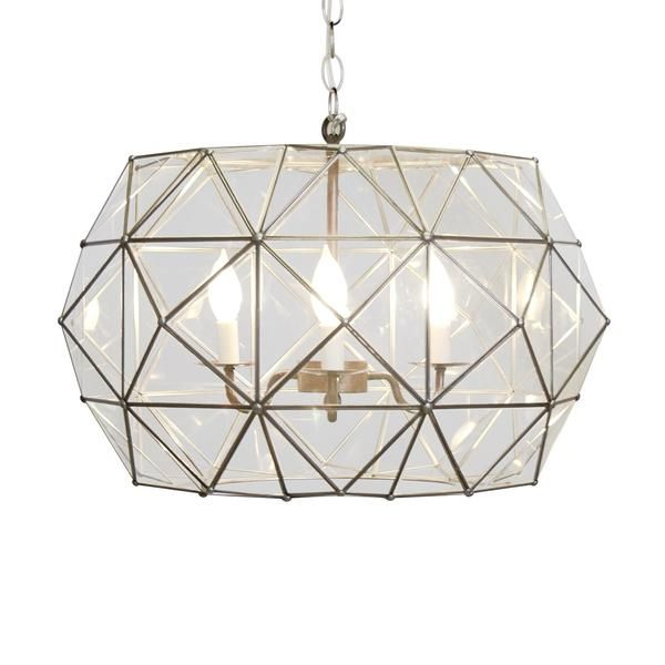 "Rozz UFO style pendant in clear glass with light bronze accents TIN AND CLEAR GLASS CHANDELIER 14H x 24""Dia Hardwire only 3' matching chain and canopy 60 watt m"