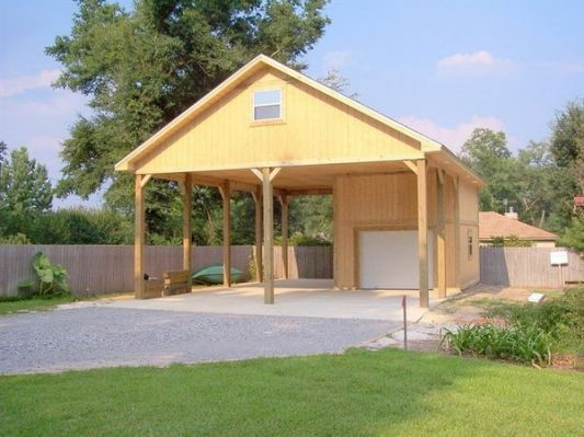 Detached 2 car garage with breezeway garage additions for Garage plans with carport
