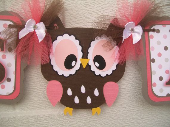 Owl baby shower banner, its a girl banner, coral, pink, brown, grey and white on Etsy, $35.00