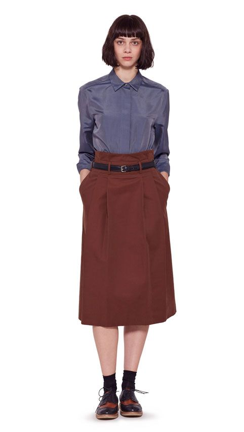 AUTUMN WINTER 2016 COLLECTION - NAVY SOFT SILK BOXY FLY PLACKET SHIRT, CONKER BRUSHED COTTON TWILL PLEATED HIGH WAIST SKIRT, BLACK BRIDLE LEATHER STITCHED TAPERED BELT, BLACK/TAN LEATHER TWO TONE BROGUE