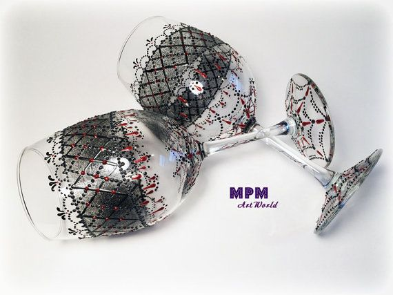 Black and Red Net Wine Glasses. Black & Red Wedding by MPMArtWorld