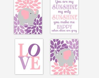 Elephant Baby Nursery Canvas Art Purple Lavender Teal Aqua You