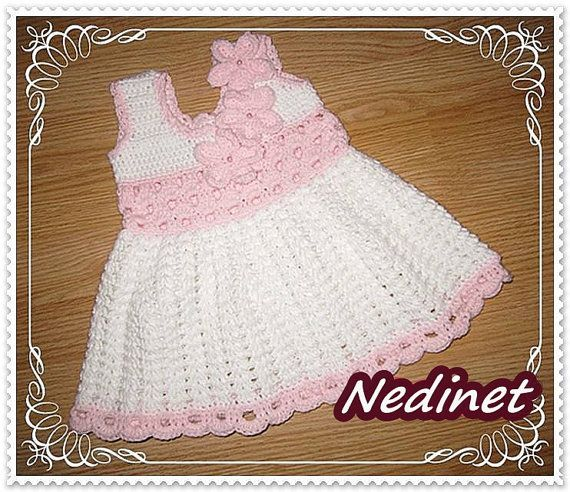 Crochet Dress girls baby christening gifts by NedinetCreations
