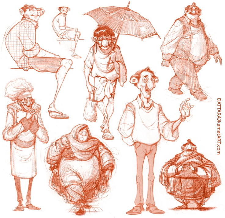 DATTARAJ KAMAT Animation art: Some rough character explorations...