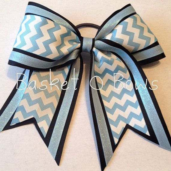 Large Cheer or Softball Bow - Black with Chevron and Dazzle/Glitter on Etsy, $10.00