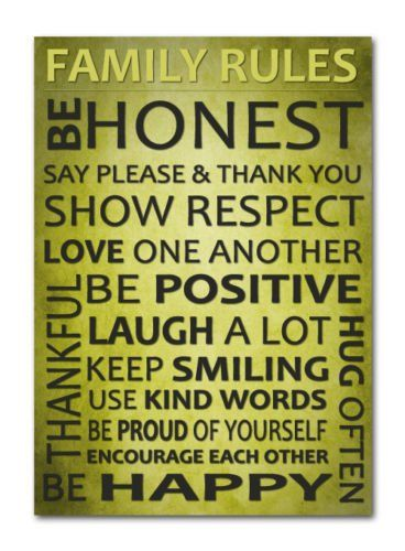 The 21 best Family Rules quote.. Word Art. Download A4 JPG images on ...