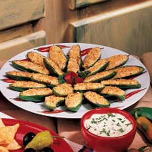 Jalapeno Pepper Poppers, this is my personal favorite and the only way I make these delicious bites of sin. How long you bake them determines the heat of the pepper. Everyone who tries them loves them and asks me for the recipe. I found it in the Taste of Home Mag a long time ago and I still haven't had a better one than this.