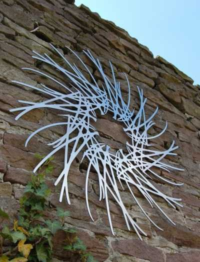 Stainless steel Abstract or Modern Garden / Yard #sculpture by #sculptor secondnature Ian Turnock & Susan Laughton titled: 'Spindrift (Wall Hung Stainless Steel Perforated Sheet Circular Decor)' #art