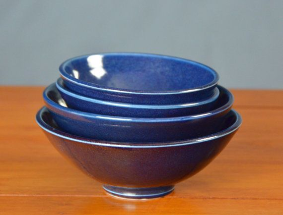 Blue Ceramic Nesting Bowl Set, Hand Thrown Porcelain Pottery, Cereal Bowl, Soup Bowl, Salad Bowl, Serving Bowl | Caldwell Pottery