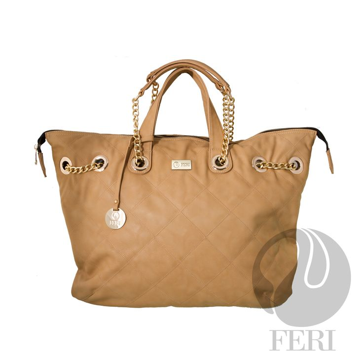 "FERI Day2Day - Moya - Purse - Tan - Oversized faux leather purse - Tip stitched quilting - Gold toned chain and leather shoulder strap with PU leather handles - Full zippered opening - Custom FERI lining with zippered pouch and cellphone pockets - Dimension: 18.90"" x 15.75"" x 5.91""  www.gwtcorp.com/ghem or email fashionforghem.com for big discount"