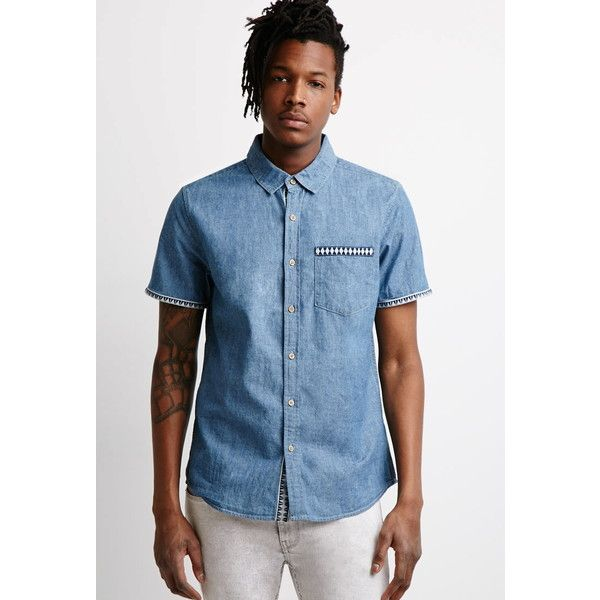 Forever 21 Men's  Geo-Trimmed Chambray Shirt ($20) ❤ liked on Polyvore featuring men's fashion, men's clothing, men's shirts, men's casual shirts, mens short sleeve button down shirts, mens woven shirts, mens short sleeve shirts, mens button down shirts and mens short sleeve casual shirts