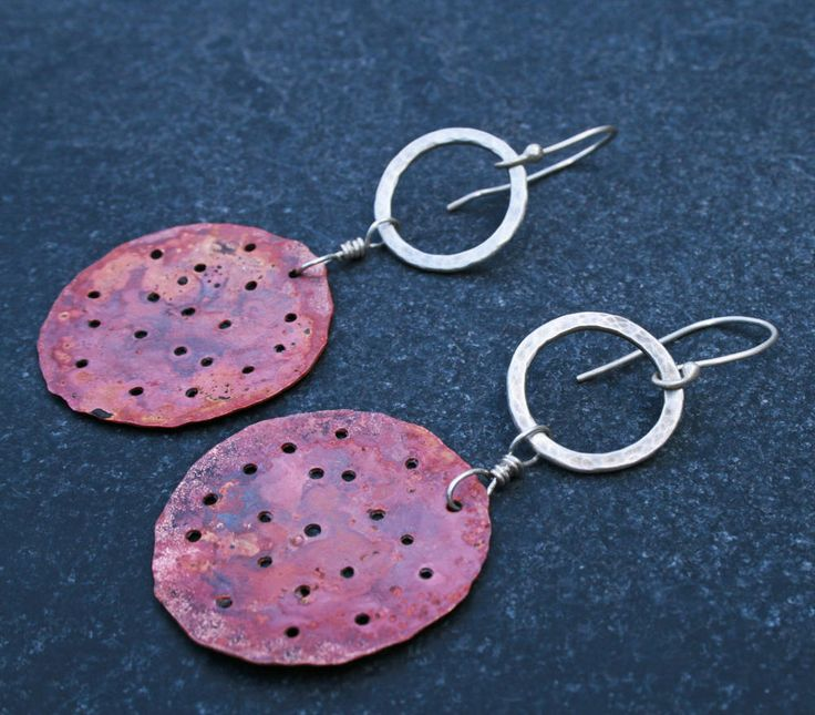 I love alchemy, so torch firing copper is a real labour of love for me. You never know how the copper will react, but when it works well its magical. These earrings have literally been painted with fire.   Red copper and silver alchemy earrings/ silver hoops/ oxidised copper circles/ unique artful jewellery/ modern/ ethnic/ dangly /special gift by CopperLarkStudio on Etsy