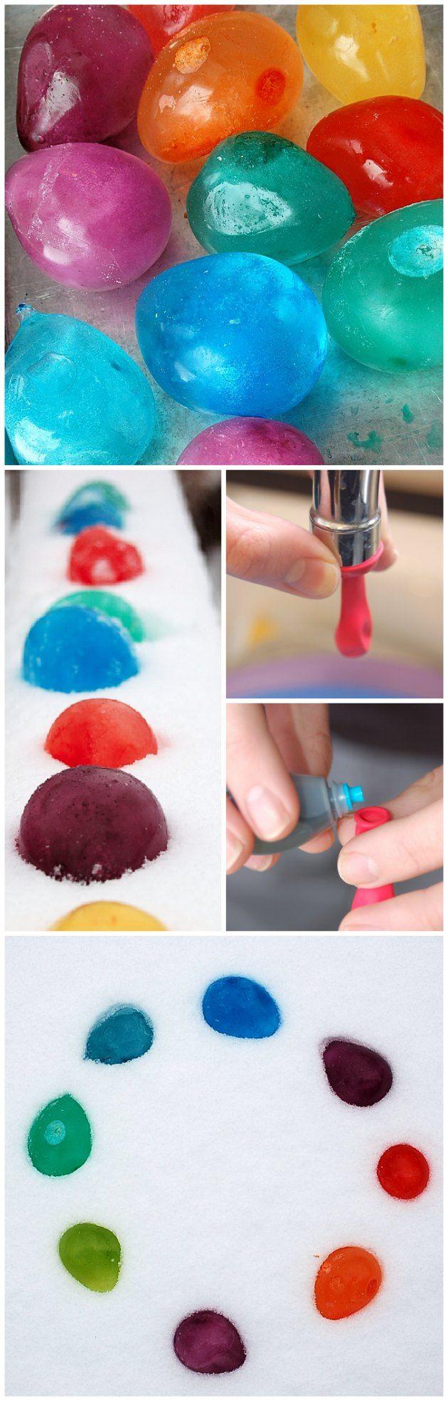 Sjov i soppebassinet - balloner der fryses med vand og frugtfarve