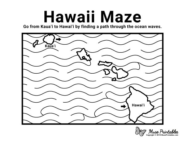 Free printable Hawaii maze. Download it from https