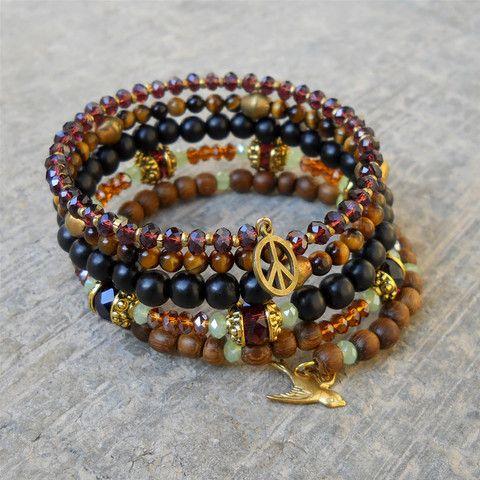 prosperity and strength, bohemian chic bangle - genuine ebony, tiger's eye, African trade beads, crystal, multi strand yoga inspired bangle