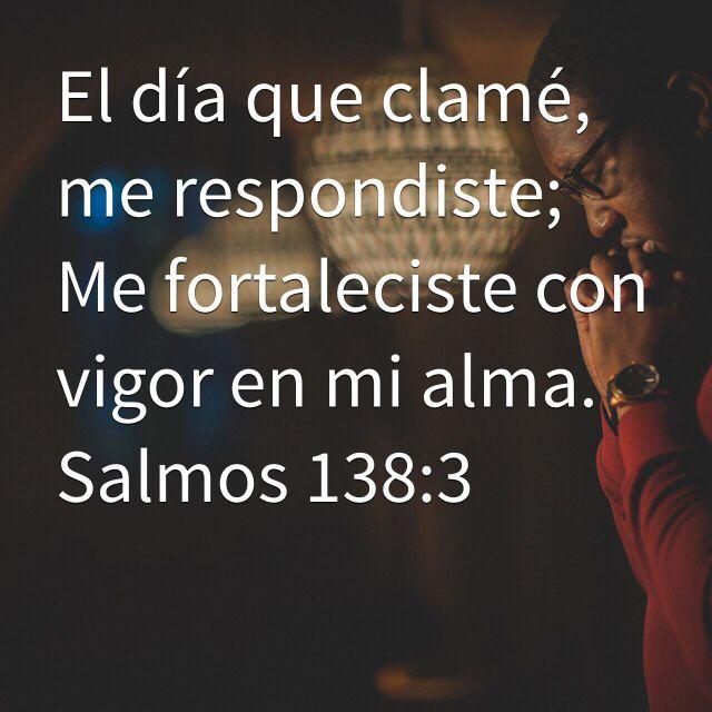 El día que clamé, me respondiste; Me fortaleciste con vigor en mi alma. (Salmos 138:3 RVR1960)