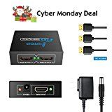 HDMI Splitter One Input To Two Outputs HDMI Amplifier 1X2 Hdmi Splitter 1 in 2 out Hdmi Splitter 4k 3D 1080p for Cable Box Satellite TV Direct TV HDTV Dual Monitor (1 Input 2 Output)