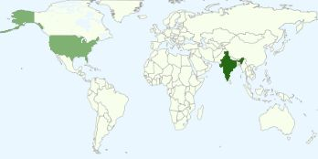 Graph of most popular countries among blog viewers