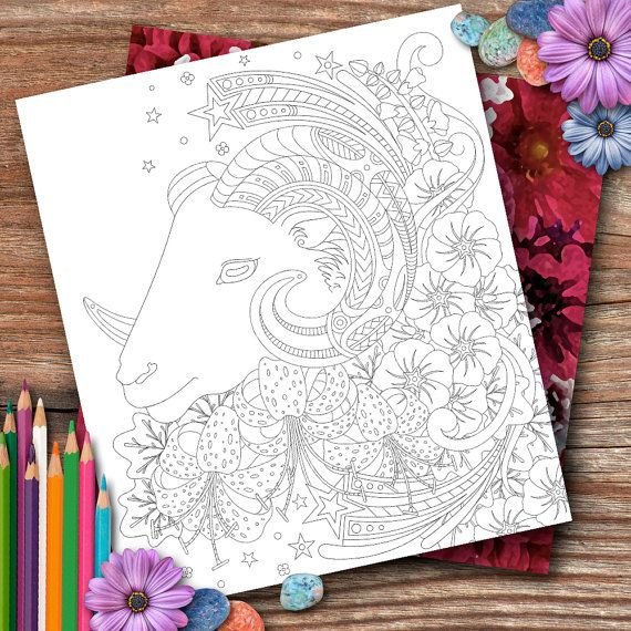 Aries Flowers Colouring Page by OpulentOwlArtistry on Etsy