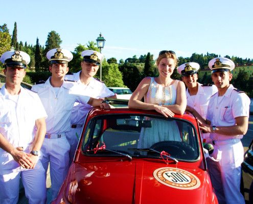 Bachelorette party in Tuscany! Driving vintage Fiat 500s through the Tuscan countryside. Visiting vineyards.