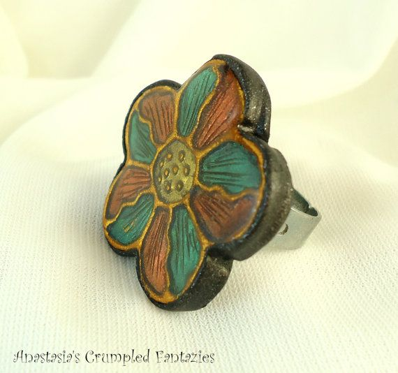 Green copper gold polymer clay faux cloisonne by CrumpledFantazies