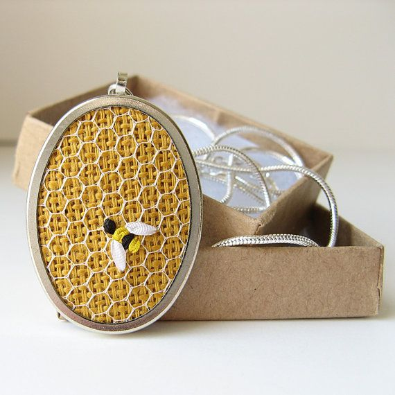 Cutest thing I've ever seen!  Bee Necklace on Honeycomb hand embroidered by bstudio on Etsy, $35.00