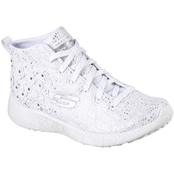 Skechers Women's Burst - Seeing Stars White - Skechers (23 KWD) ❤ liked on Polyvore featuring shoes, sneakers, white, high top shoes, skechers sneakers, skechers high tops, lace up sneakers and sparkle sneakers